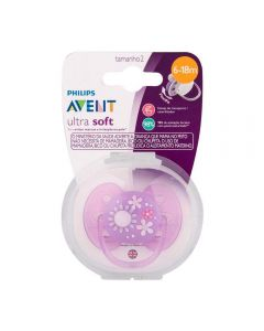 Chupeta Ultra Soft Lilas Flor 6-18 meses Philips Avent